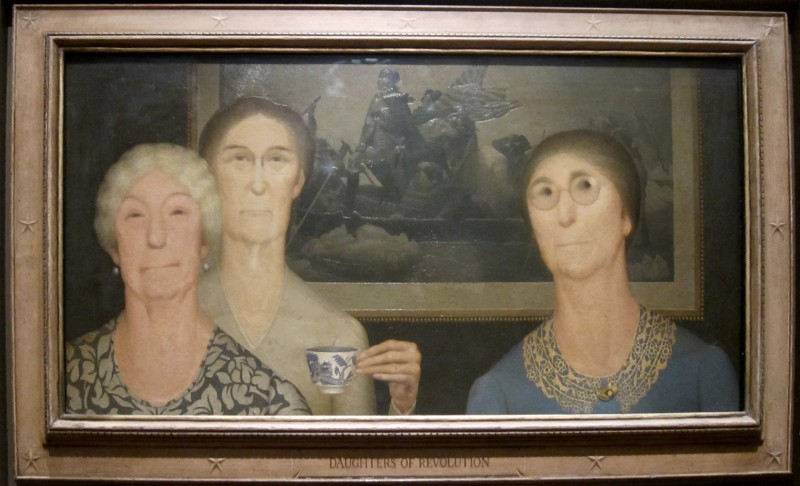 "Grant Wood, Daughters of Revolution, 1932, oil on Masonite, 20"" x 39.9"", Cincinati Art Museum, Cincinnati, Photo by Wmpearl, Public Domain via Wikimedia Commons."