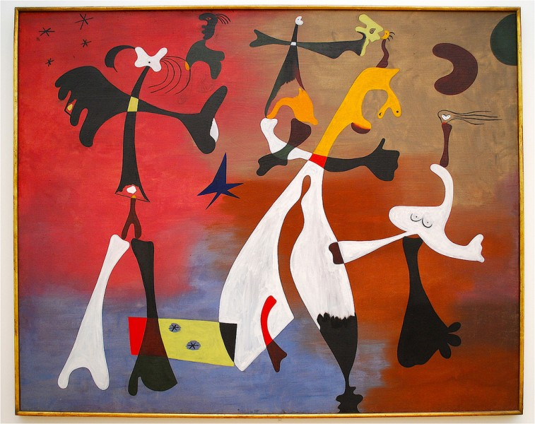 "Joan Miró, Personages with Star, 1933, oil on canvas, 78"" x 97"", Art Institute of Chicago, Photo by Xevi V via Flickr, Creative Commons Attribution-Non Commercial -Share Alike 2.0 Generic License."