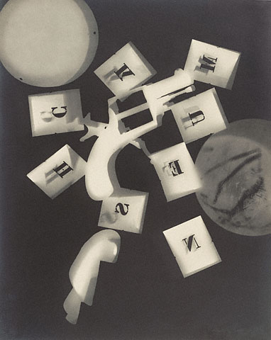 """Man Ray, Rayograph (Gun with Alphabet Stencils), 1924, Gelatin Silver Print, 11 5/8"""" x 9 1/4"""", Getty Center, Los Angeles, Photo by dr jk via Flickr, Creative Commons Attribution-NonCommercial-NoDerivs 2.0 Generic License."""