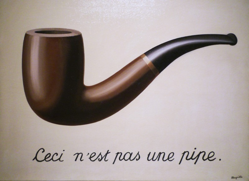 René Magritte, The Treachery of Images (This is Not a Pipe), 1929, Oil on canvas, 23 3/4 x 31 15/16 in., LACMA, California, Photo by profzucker via Flickr, Creative Commons Attribution-NonCommercial-ShareAlike 2.0 Generic License.