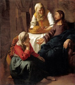 "Jan Vermeer, Christ in the House of Mary and Martha, 1654-1655, oil on canvas, 62.4"" x 55.7"", National Galleries of Scotland, Edinburgh, Public Domain via Wikimedia Commons."
