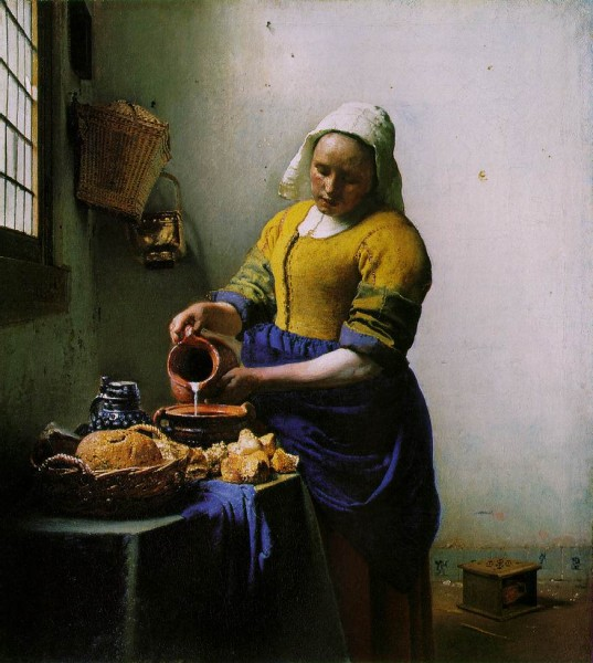 "Jan Vermeer, The Milkmaid, c. 1660, oil on canvas, 17.9"" x 16.1"", Rijksmuseum, Amsterdam, Photo by jimmiehomeschoolmom via Flickr, Creative Commons Attribution 2.0 Generic License."