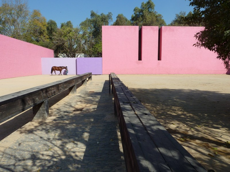 Luis Barragán, San Cristóbal Stables, Mexico City, 1968, Photo by Steve Silvermas via Flickr, Creative Commons Attribution-NonCommercial-NoDerivs 2.0 Generic License.