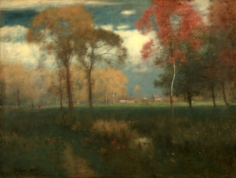 "George Inness, Sunny Autumn Day, 1892, oil on canvas, 31 7/8"" x 41 11/16"", Cleveland Museum of Art, Photo by pirano Bob R via Fickr, Creative Commons Attribution-NonCommercial-NoDerivs 2.0 Generic License."