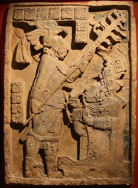 Bloodletting Ritual of Lady Xoc, Lintel 24 of Structure 23, Maya site of Yaxchilan, Chiapas, Mexico, Photo by Michel wal via Wikimedia Commons, GNU Free Documentation License.