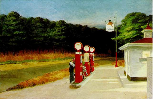 "Edward Hopper, Gas, 1940, oil on canvas, 26 1/4 x 40 1/4"", Museum of Modern Art, New York, Photo by David Churbuck via Flickr, Creative Commons Attribution-NonCommercial-NoDerivs 2.0 Generic License."