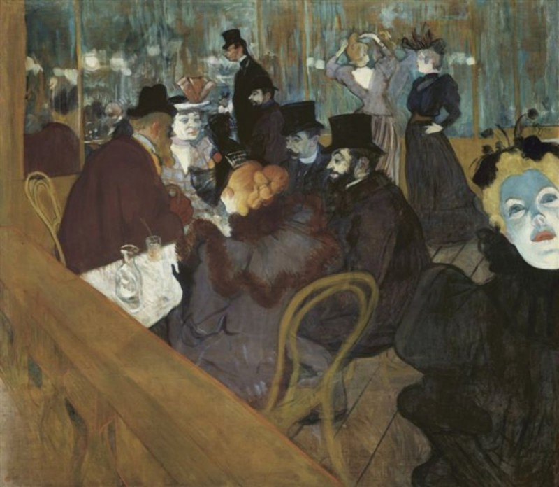 "Henri de Toulouse-Lautrec, At the Moulin Rouge, 1892/95, oil on canvas, 48 7/16"" x 55 ½"", Art institute of Chicago, Public Domain via Wikimedia Commons."