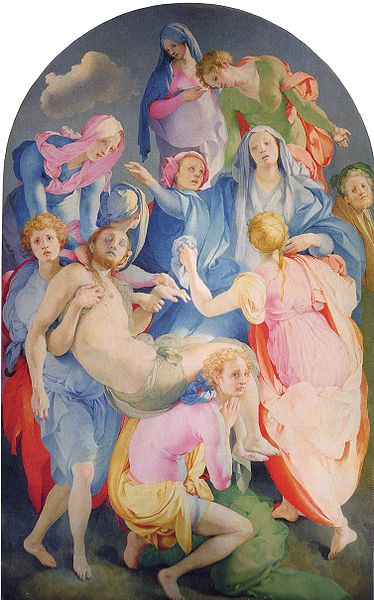 "Jacopo Pontormo, The Entombment or The Deposition, 1526-1528, oil on panel, 123"" × 76"", Capponi Chapel, Church of Santa Felicita, Florence, Public Domain via Wikimedia Commons."