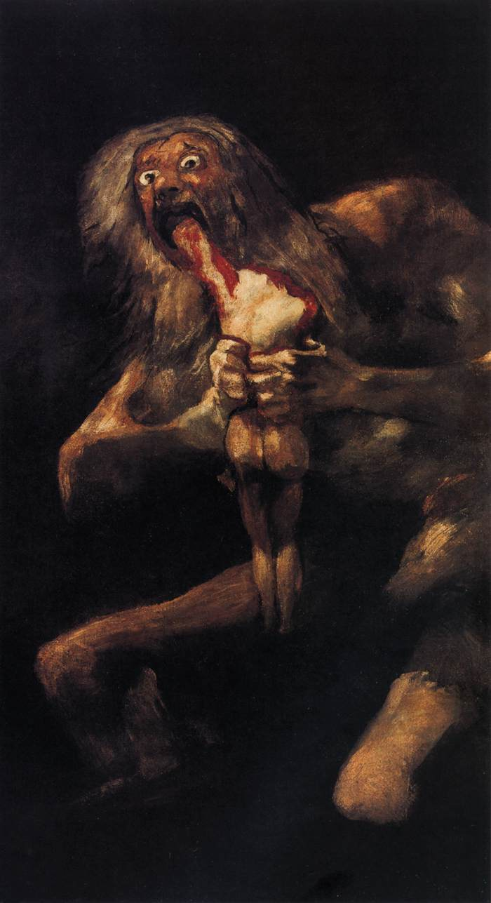 "Francisco Goya, Saturn Devouring One of His Children, 1819 and 1823, plaster mounted on canvas, 57.5"" x  32.7"", Prado Museum, Madrid, Francisco Goya [Public Domain], via Wikimedia Commons."