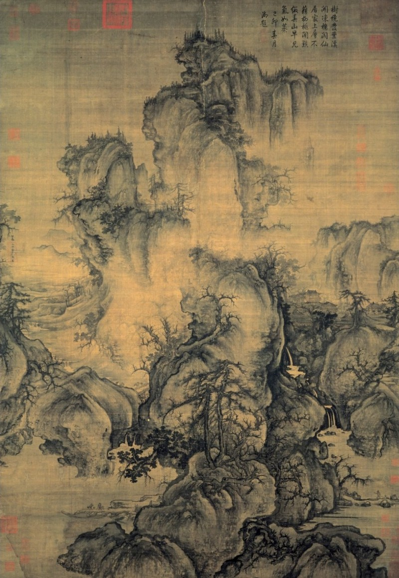 "Guo Xi , Early Spring, 1072, ink on silk, 62.3"" × 42.6"", National Palace Museum, Taipei City, Taiwan, Photo in the Public Domain via Wikimedia Commons."