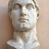 Constantine the Great, c. 315, marble, 8½ feet tall, Palazzo dei Conservatori, Musei Capitolini, Rome, Photo by Camille King via Flickr, Attribution-ShareAlike 2.0 Generic License.