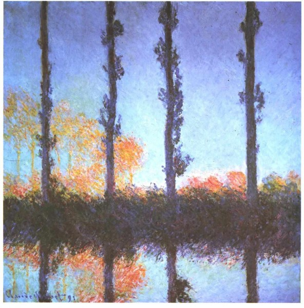 Claude Monet, Poplars, 1891, Public Domain via Wikimedia Commons.