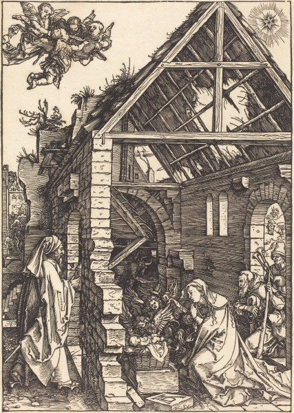 Albrecht Dürer, The Adoration of the Shepherds, from The Life of the Virgin, circa 1503, woodcut, 11 3/4 x 8 5/16 in., National Gallery of Art, Washington, D.C. Albrecht Dürer [Public domain], via Wikimedia Commons.