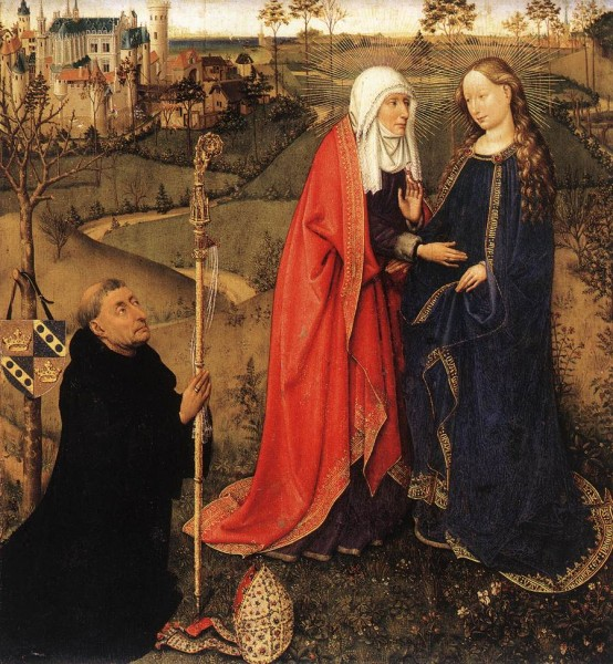 "Jacques Daret, The Visitation, 1434-35, oil on oak panel, 22.44"" x 20.47"", Staatliche Museen, Berlin, Public Domain via Wikimedia Commons."