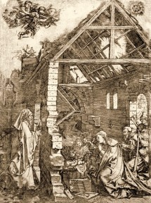 "Marcatonio Raimondi, copy of Albrecht Dürer, The Adoration of the Shepherds, from The Life of the Virgin, c. 1503, engraving, 12"" x 9"", National Library of Brazil, Rio de Janeiro, Marcantonio Raimondi [Public domain], via Wikimedia Commons."