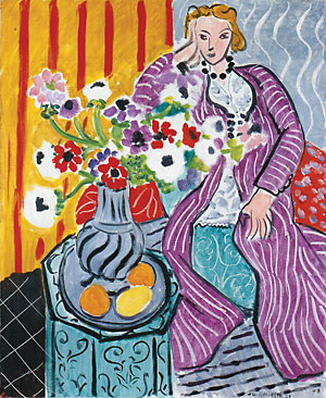 Henri Matisse, Purple Robe and Anemones, 1937, oil on canvas, 73.1 x 60.5 cm, Baltimore Museum of Art, Baltimore, Photo by Julia Manzerova via Flickr, Creative Commons Attribution-NonCommercial-ShareAlike 2.0 Generic License.