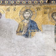 Mosaic of the Deësis in Hagia Sophia, Istanbul, Turkey, 13th century, Photo by Myrabella, via Wikimedia Commons, Creative Commons Attribution-ShareAlike 3.0 Unported License.