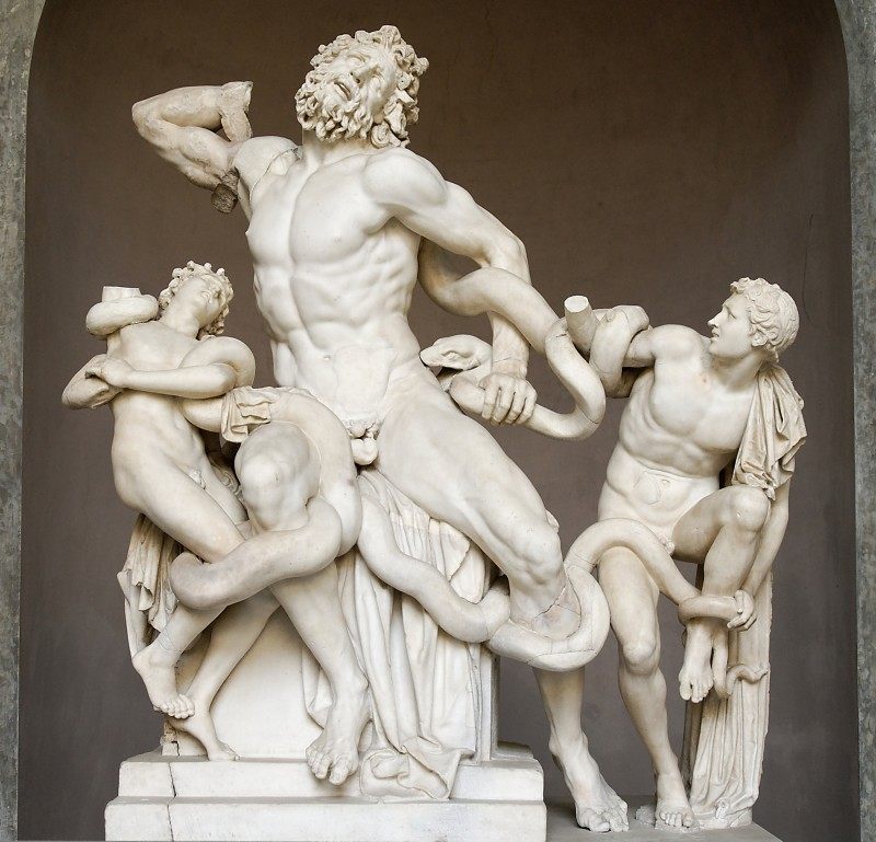 """Hegesandros, Polydoros, and Athanodoros of Rhodes, Laocoön and His Sons, Roman copy of 1st cen. CE sculpture. Marble, 6' 7"""" high, Vatican Museum, Rome, Photo by Marie-Lan Nguyen via Wikimedia Commons, Artwork in the Public Domain."""
