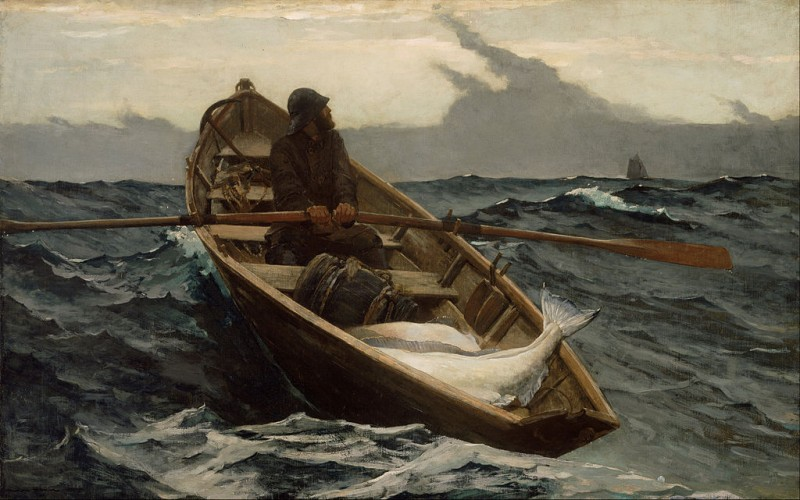 "Winslow Homer, The Fog Warning, 1885, oil on canvas, 30.2"" × 48.5"", Museum of Fine Arts, Boston, Public Domain via Wikimedia Commons."