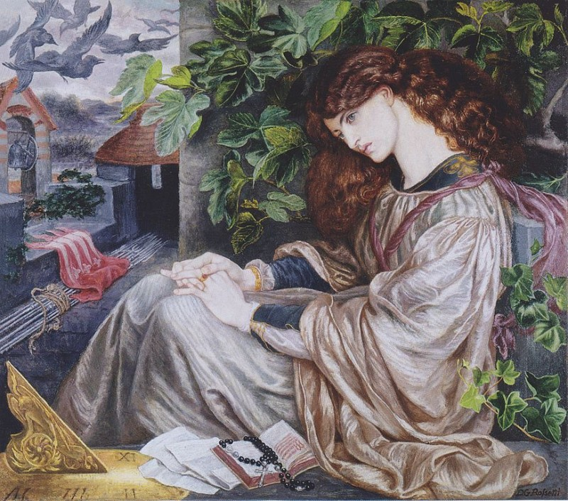 "Dante Gabriel Rossetti, La Pia de' Tolomei, c. 1868, oil on canvas, 41.5"" x 47.5"" Spencer Museum of Art, Lawrence, Kansas, Photo via Wikimedia Commons, Artwork in the Public Domain."