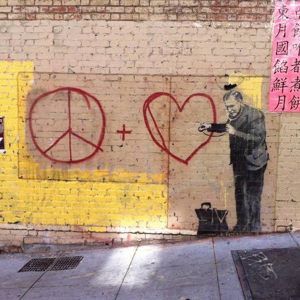 Banksy, Peace and Love, 2010, Chinatown, San Francisco, Photo by Ryan Sharp via Flickr, Creative Commons Attribution 2.0 Generic License.