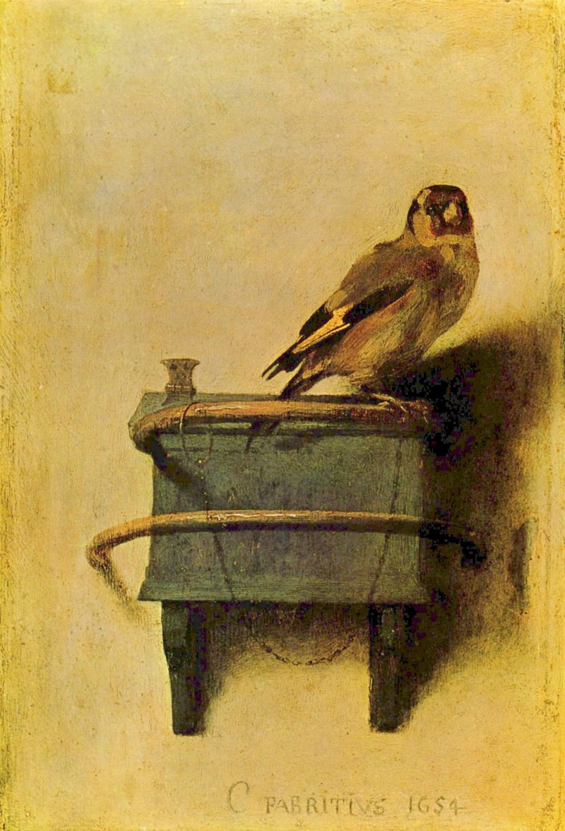 "Carel Fabritius, The Goldfinch, 1654, oil on panel, 13.2"" x 9"", Mauritshuis, The Hague, Photo by The Yorck Project: 10.000 Meisterwerke der Malerei via Wikimedia Commons, artwork in the Public Domain."