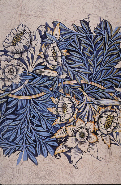 William Morris, Drawing for block-printed fabric Tulip and Willow, 1873, Public Domain vis Wikimedia Commons.