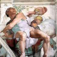 Michelangelo, Jonah from the Sistine Chapel ceiling, 1508-12, fresco painting, The Vatican, Rome, Public Domain via Wikimedia Commons.