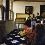 """Jan Vermeer, The Music Lesson, c. 1662-65, oil on canvas, 29.13"""" x 25.43"""", Royal Collection, London, Public Domain via Wikimedia Commons."""