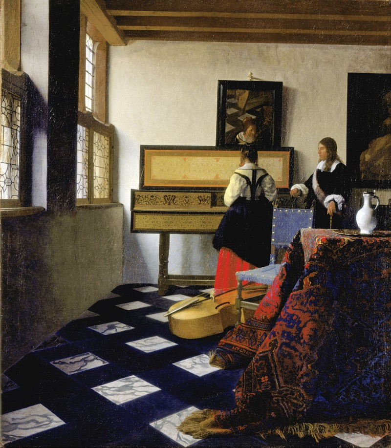 "Jan Vermeer, The Music Lesson, c. 1662-65, oil on canvas, 29.13"" x 25.43"", Royal Collection, London, Public Domain via Wikimedia Commons."