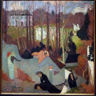 """Maurice Denis, Easter Mystery, 1891, oil on canvas, 41"""" x 40 1/8"""", The Art Institute of Chicago, Photo by Kent Baldner via Flickr, Creative Commons Attribution-NonCommercial-ShareAlike 2.0 Generic License."""
