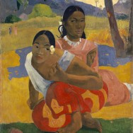 "Paul Gauguin, Nafea Faa Ipoipo (When Will You Marry?), 1892, oil on canvas, 40"" x 30"", Qatar Museums, Photo via Wikimedia Commons."