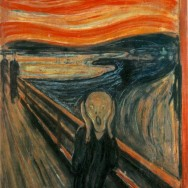 """Edvard Munch, The Scream, 1893, Casein/waxed crayon and tempera on paper (cardboard), 35 7/8"""" x 29"""", National Gallery, Oslo, Norway, Public Domain via Wikipedia."""