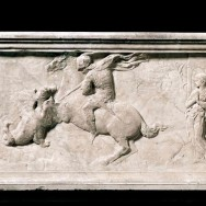 "Donatello, St. George and the Dragon , c. 1416, marble, 15.25"" x 47.25"", Museo Nazionale del Bargello, Florence, photo via Wikimedia Commons."