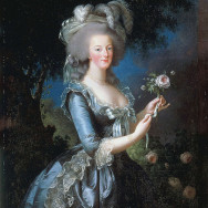 "Elisabeth Louise Vigée Le Brun, Portrait of Marie-Antoinette with the Rose, 1783, oil on canvas, 44.5"" x 34.3"", Palace of Versailles, Versailles, Public Domain via Wikimedia Commons."