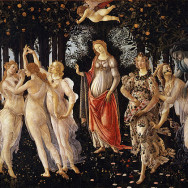 "Sandro Botticelli, Primavera, c. 1482, tempera on panel, 80"" x 124"", Uffizi Gallery, Florence, Public Domain via Wikipedia."