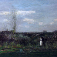 Charles-François Daubigny, Spring, 1862, oil on panel, Alte Nationalgalerie, Berlin, artwork in the Public Domain.