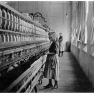 Lewis Hine, Child in a Carolina Cotton Mill, 1908, gelatin silver print, photograph in the Public Domain.