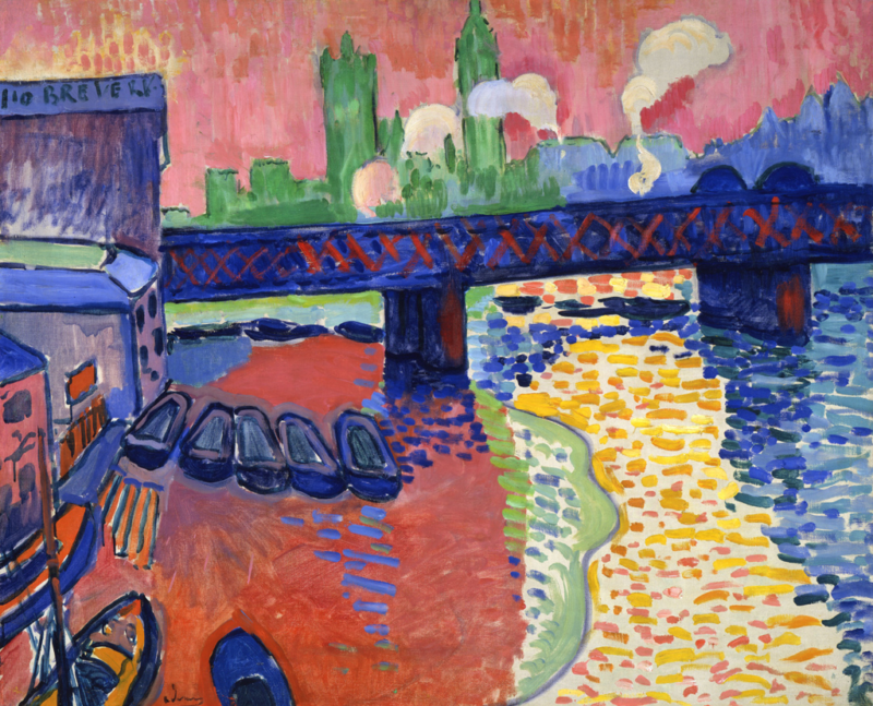 André Derain, 1906, Charing Cross Bridge, London, National Gallery of Art, Washington, DC, artwork in the Public Domain via Wikimedia Commons.