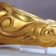 Golden rhyton from Iran's Achaemenid period, c. 550-300 BCE, excavated at Ecbatana, National Museum of Iran, Photo via Wikimedia Commons.
