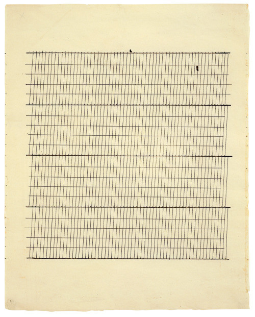 "Agnes Martin, Aspiration, 1960, ink on paper, 11 ¾"" x 9 ⅜"", Photo by J R via Flickr, Creative Commons Attribution 2.0 Generic License."