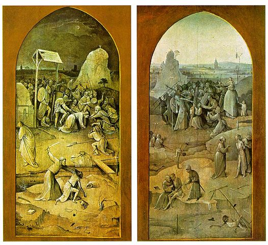 Hieronymus Bosch, Arrest of Christ and Christ Carrying the Cross from the Exterior of the Triptych of The Temptation of St. Anthony, 1505-1506, oil on panel, Museu Nacional de Arte Antiga, Lisbon, Artwork in the Public Domain via Wikimedia Commons.