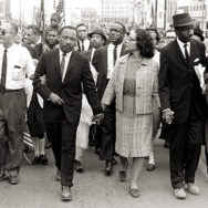 Morton Broffman, Dr. Martin Luther King, Jr. arrives in Montgomery, Alabama on March 25th 1965 at the culmination of the Selma to Montgomery March, 1965, silver gelatin print.