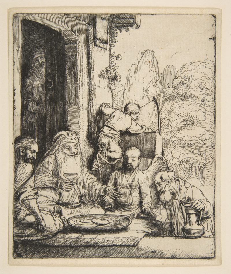 "Rembrandt van Rijn, Abraham Entertaining the Angels, 1656, etching and drypoint, 6 ½"" x 5 ½"", Image via Wikiart, artwork in the Public Domain."