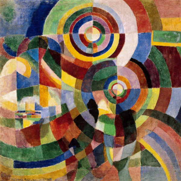 "Sonia Delaunay, Prismes électriques (Electric Prisms), 1914, oil on canvas, 98.4"" x 98.4"", Musée National d'Art Moderne, Centre Pompidou, Paris, Public Domain via Google Images."