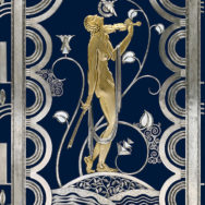 Paul Fehér, Muse with Violin Screen (detail), 1930, wrought iron, brass; silver and gold plating, The Cleveland Museum of Art, on Loan from the Rose Iron Works Collections.