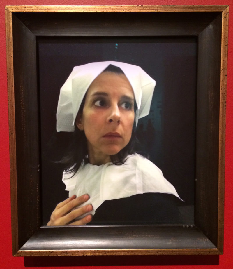 "Nina Katchadourian, Photograph from ""Lavatory Self-Portraits in the Flemish Style,"" from Seat Assignments, 2010 and ongoing, Photo by Sally Coleman."