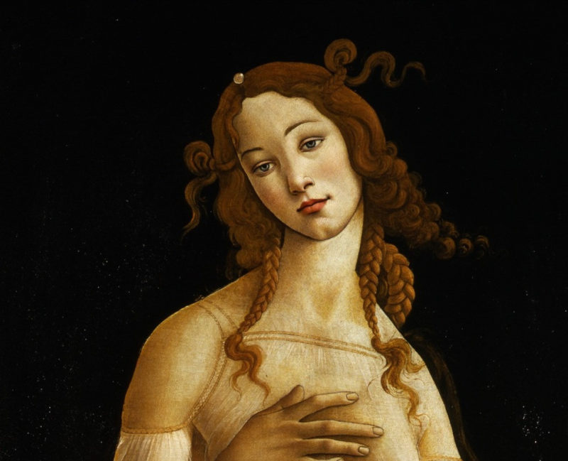 Sandro Botticelli, Detail of Venus, c. 1490, Oil on canvas, Galleria Sabauda, Photo via Wikimedia Commons