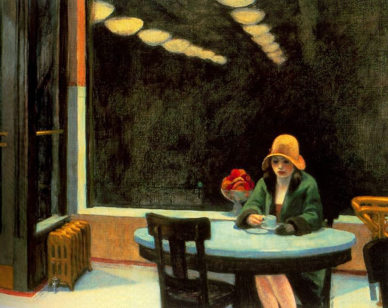 "Edward Hopper, Automat, 1927, oil on canvas, 28"" x 36"", Des Moines Art Center, IA, Artwork in the Public Domain via Wikipedia."