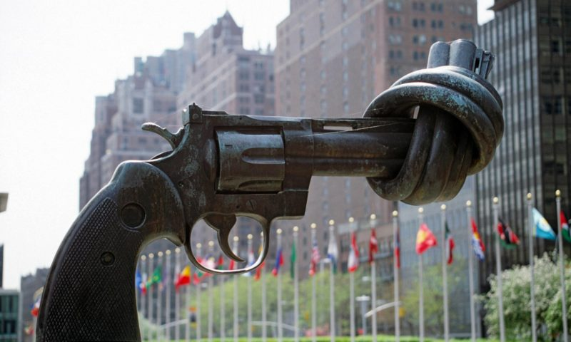 Carl Frederik Reuterswärd, Non-Violence, 1985, bronze, Plaza at the United Nations, New York.